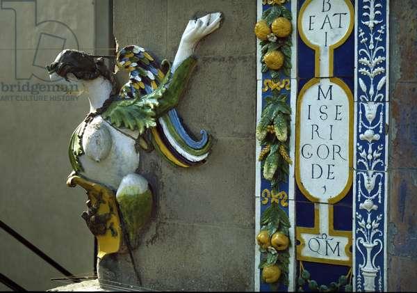 Harpy, 1526-1528 (polychrome terracotta relief)