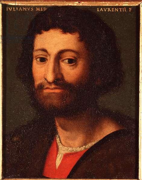 Portrait of Julien de Medicis (1478-1516) (Giuliano de Medici) Duke of Nemours Painting by Allori Angelo di Cosimo dit Bronzino (1503-1572) - 16th century Sun 15x12 cm Palace Medici-Riccardi (Medici Riccardi) Florence