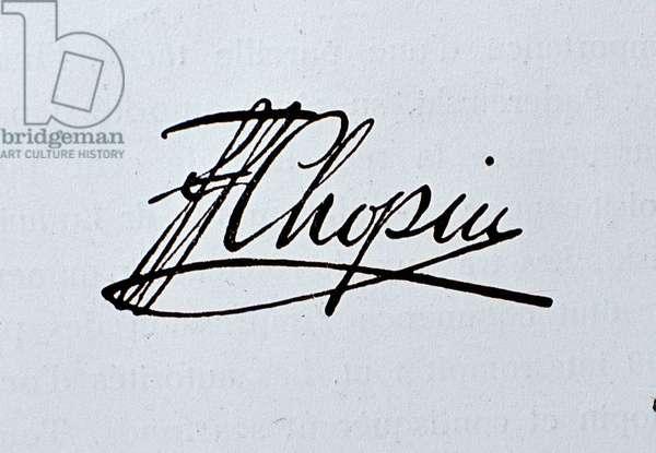 Autograph signature of Frederic Chopin, 19th century (manuscript)