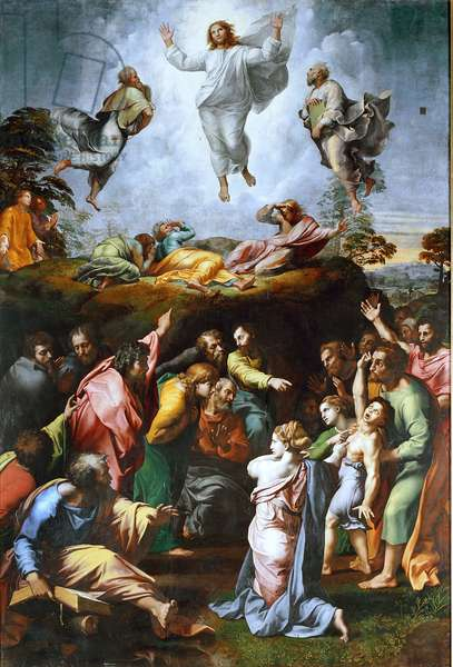 The transfiguration - Christ surrounds the prophets Moses and Elijah and beneath St. Peter, St. John and St. James - Under the mountains the spectators of the scene points finger - An epileptic boy is represented during a crisis - Painting by Raphael (Raffaello Sanzio 1483-1520), 1519, Dim. 405x278 cm - Pinacoteca Vaticana, Rome - The Transfiguration - Painting by Raffaello Sanzio of Urbino, called Raphael (1483-1520), oil on panel, c. 1519-1520 - Vatican Museums and Galleries, Vatican City