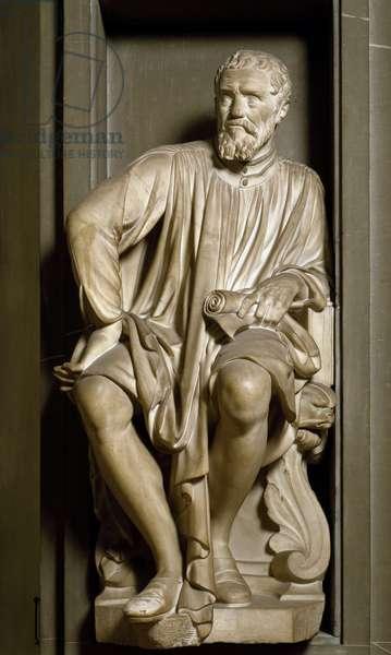 Portrait of the sculptor, painter and architect Michelangelo Buonarroti dit Michelangelo (Michelangelo or Michelangelo, 1475 - 1564) - Sculpture by Antonio Novelli (1600-1662), 1635 - Casa Buonarroti, Florence - Portrait of Michelangelo Buonarroti, called Michelangelo (1475-1565) - Marble sculpture by Antonio Novelli (1600-1662), 1662), Florence