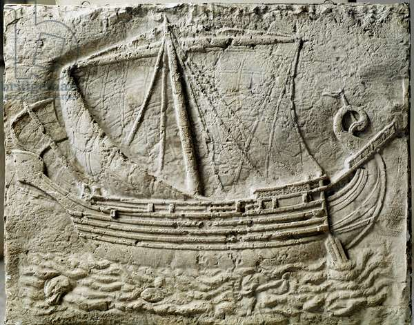Phenician art: bas relief of sarcophagus representing a merchant ship - From the old port of Sidon (Saidoon) in Lebanon - Paris, musee du Louvre - A Phoenician trade ship - Relief detail of a stone sarcophagus found in Sidon (Lebanon) - Louvre Museum, Paris