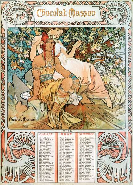 "Adult Calendar page of the year 1898 decoree of an advertising illustration by Alphonse Mucha (1860-1939) for the chocolates Masson - """" The middle age"""" Advertising illustration by Alphonse Mucha for Masson chocolate from a 1898 calendar - Dim 21,5x30 cm Private collection"