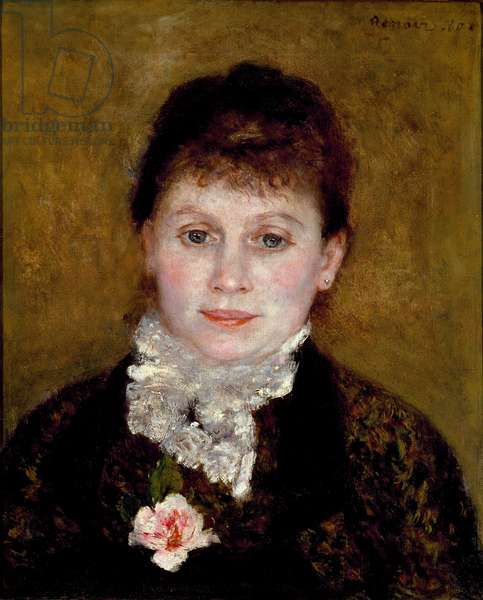 Woman has a white collar. Portrait of a woman with a rose, 1880 (oil on canvas)