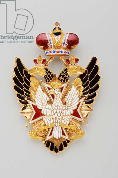 Russia - Order of the White Eagle: insignia belonging to John Charles of Saldanha, Oliveira e Daun (1790-1876) - Manufactured by Kammerer & Keibel (Saint Petersburg) - 1836-1841 - Gold and emals - H: 10 cm; W: 6.2 cm; Weight: 30 g - Private collection