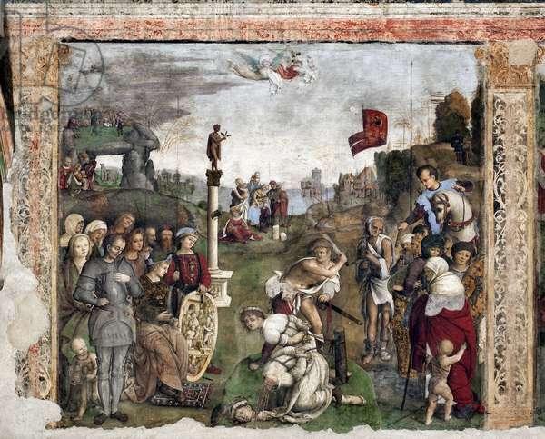 Life of St. Cecile: Martyrdom of St Valerian and Tiburtius(fresco, 1506)