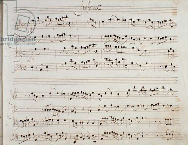 """Page of musical score of representation of """""""" Mitridate"""""""" opera by Giuseppe Aldrovandini (Aldovandrini, Aldrovandin, Aldrovandon, Altrobrandino) (1671-1707) Italian Baroque composer at the teatro of san Bartolomeo, Naples, 1706. Sheet music page for the opera """""""" Mithridate"""""""" by Giuseppe Aldrovandini (1671-1707) during the performance at the Theatre de San Bartolomeo in Naples in 1706. Milan, Biblioteca del Conservatorio"""