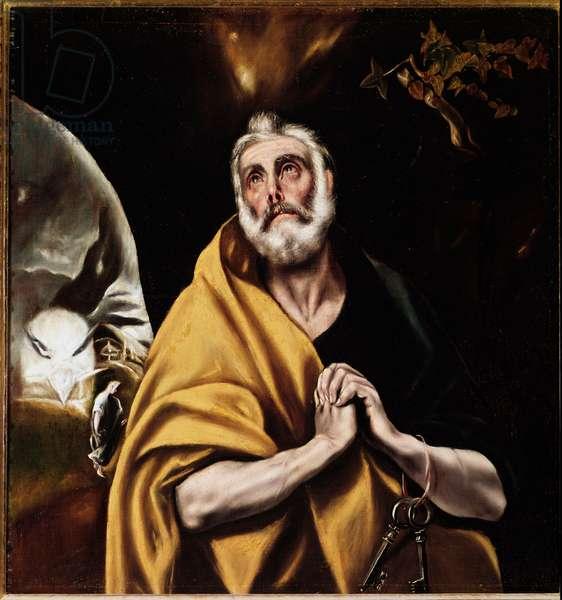 The Tears of Saint Peter (The Tears of Saint Peter), circa 1594-1604 - Oil on canvas (Dim: 110x88 cm) by Domenikos (Dominica) Theotokopoulos, known as Le Greco (1541-1614), Hospital of Tavera, Toledo