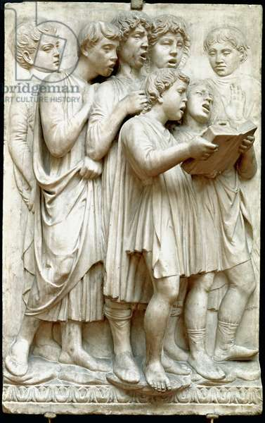 La cantoria or children singing in choir - Marble relief (Height 348 cm), by Luca della Robbia (c.1400-1482), 1431-1438 - Panelboard of Cantoria or Tribune des singers: a children's choir - High marble relief by Luca della Robbia (ca. 1400-1482) 1431-1438 Dim. 348 cm Museo dell'Opera del Duomo, Florence