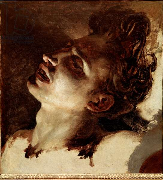 Head of a dead young man Painting by Jean Louis Theodore Gericault (1791-1824) 19th century Sun. 31x33 cm Rouen, Musee des Beaux Arts