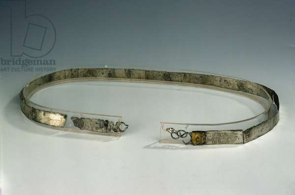 Belt in silver lamina of embossed decoration with protome of radial Helios repeated twelve times , from Rossano di Vaglio