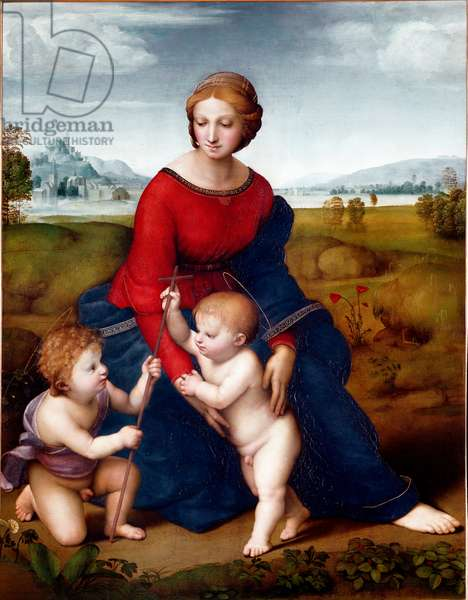 The Virgin in the Prairie or Madonna of the Belvedere Painting by Raphael (Raffaello Sanzio 1483-1520) 1506 Sun. 113 X 88 cm Vienna Kunsthistorisches Museum