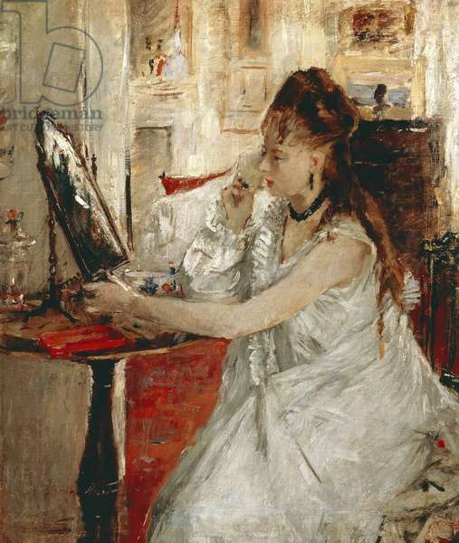 Young Woman Powdering Her Face. Painting by Berthe Morisot (1841-1895), oil on canvas, 46x39 cm. Paris, Musee d'Orsay