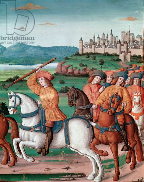 """The madness of Charles VI (1368 - 1422). On 5 August 1392, in the forest of Le Mans, he began to experience attacks of furious madness: screaming at treason, he attacked his own troupe and killed four Miniature people from """""""" Chronicles de Enguerrand de Monstrelet (v. 1400-1453)"""""""" (Ms 875/321 t.1 fol.1) Chantilly musee Conde"""