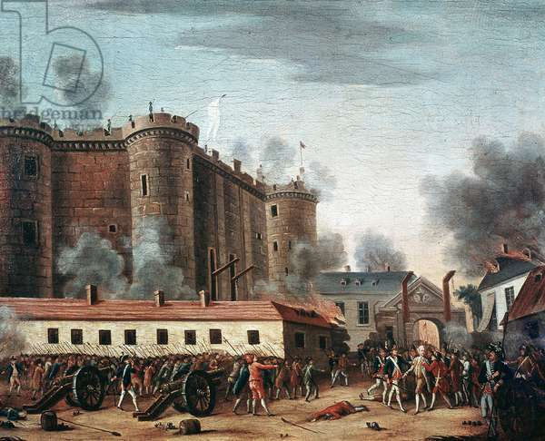 "French Revolution: """" la prise de la Bastille, 14/07/1789 et l'arrest de monsieur de Launay - Marquis Bernard Rene (Bernard-Rene) Jordan de Launay (1740-1789), governor of the Bastille"""" (The storm of the fortress of the Bastille, on 14 July 1789) Painting de l'Ecole francaise, 18th century Paris, Musee Carnavalet"