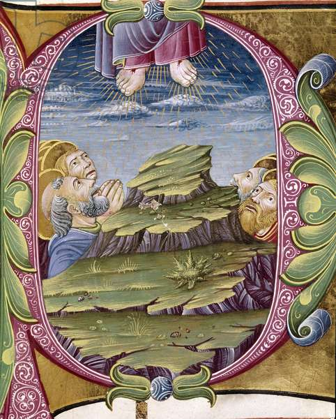 The ascension of Christ Lettrine illuminated by Giovanni Gadio. Detail of an antiphonary. 1483. Cremone, choral 6, capitolo del duomo