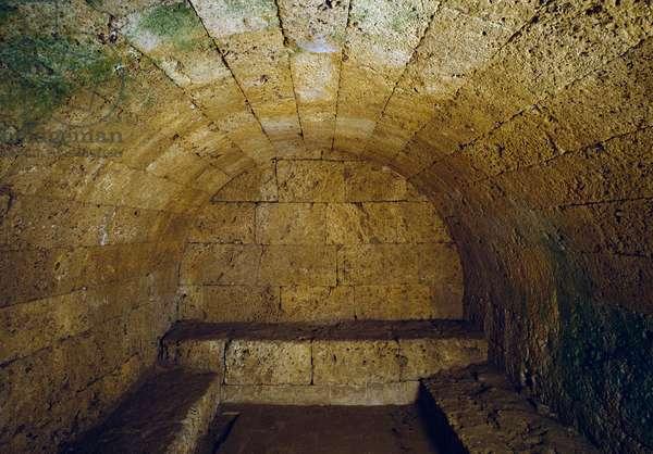 Etruscan civilization: view of the tomb del Gran Duca (Grand Duke or Grand Duke), end of the 3rd century BC. Chiusi, Italy