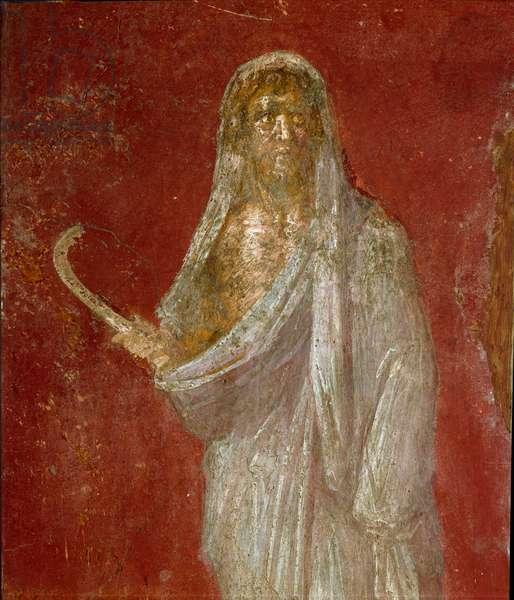 Roman art: representation of Cronos (Saturn). Detail. Fresco from the Casa dei Dioscuri in Pompei. Dim. 68x41 cm Museo Archeologico Nazionale, Naples