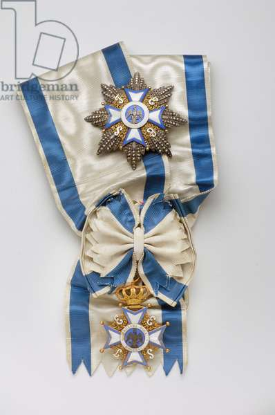 Duche de Modene - Order of the Eagle: badges of knight grand cross belonging to Alphonse de Bourbon des Deux Sicilies (Alfonso di Borbon-Due Sicilie) (1841-1934), Count of Caserta (1894-1934) - Fabricques by Halley (Paris) - 1850-1900 - Gold, silver and emaux - Plaque: D: 8,6 cm; Weight: 60 g; Badge: H: 8 cm; W: 5.9 cm; Weight: 30 g - Private collection
