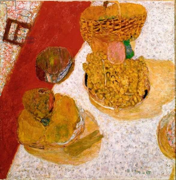 Table corner Still Life of Fruit. Painting by Pierre Bonnard (1867-1947) 1935 Dim. 67x63,5 cm Paris, Musee national d'art moderne