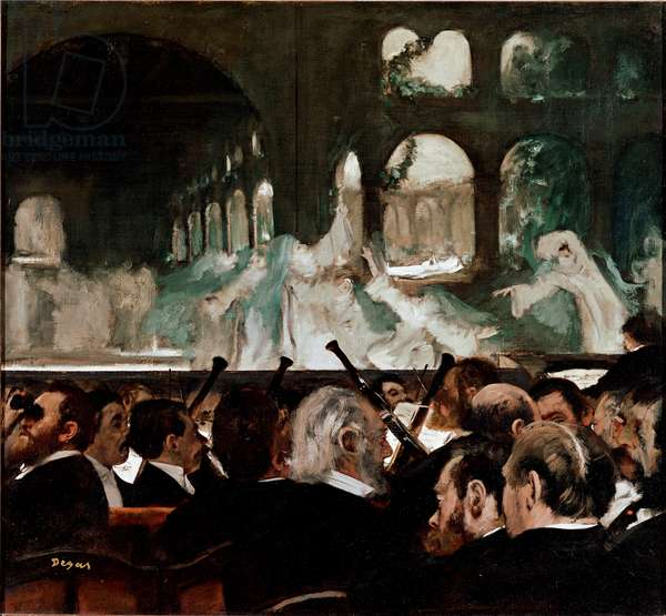 "At the ballet Robert le Diable"""" de Meyerbeer"""" Ballet composed by Jakob (Giacomo) Liebmann Meyerbeer (1791-1864) and Eugene Scribe. Front row spectators. Painting by Edgar Degas (1834-1917) 1876 Sun. 75x81 cm London, Victoria and Albert Museum"