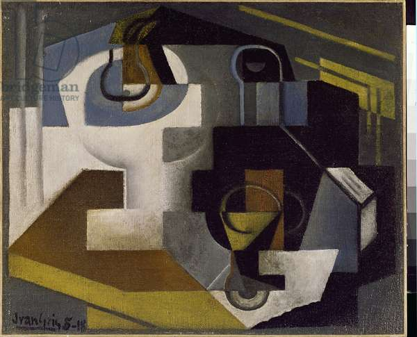 Still Life with a Fruit Bowl - Painting by Juan Gris (1887-1927), 1918. Milano, Collezione Jesi