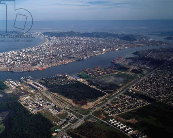 Air view of the city of Santos, Brazil - Aerial view of the city of Santos, Brazil - Photography - 1983