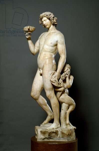 Bacchus Drunk Marble sculpture by Michelangelo Buonarroti called Michelangelo (Michelangelo or Michelangelo, 1475 - 1564). 1497-1499 Dim. 184 cm Florence, Museo Nazionale del Bargello