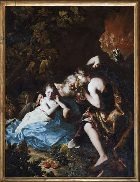 Loth et ses filles (Lot and his daughters) Painting by Bartolomeo Guidobono (1654-1709) 1694-1696 Musei di Strada Nuova Genes