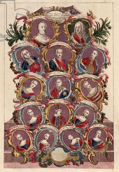 Family tree of empress Maria Theresa of Habsburg (1717-1780) with husband Francis I with childs : Maria Elizabeth, Joseph II, Maria Amalia, Leopold II, Ferdinand and Maximilian