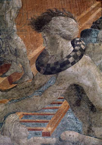 """Episode of Noe's life: the deluge and the withdrawal of the waters - detail of the character wearing a mazzocchio around the neck (perspective study) Fresco by Paolo Uccello (1397-1475) (Noah and the Flood, fresco in the Chiostro Verde of Santa Maria Novella - Detail: one of the lost humans outside the Ark wears a """""""" mazzoccho"""""""""""""""" around his neck, a straw-ring around which elegant Florentines draped their headgear) 1446-1448 Dim 215x510 cm Cloister towards the Church Santa Maria Novella, Florence"""