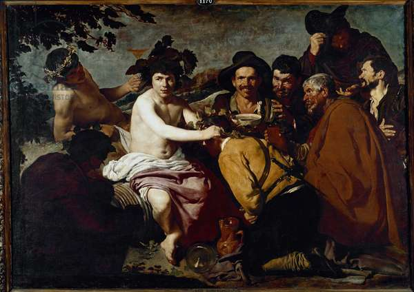 The triumph of Bacchus or the drunks. Painting by Diego Rodriguez de Silva y Velazquez dit Diego Velasquez (1599-1660), 1629. Oil on canvas. Museo del Prado, Madrid.