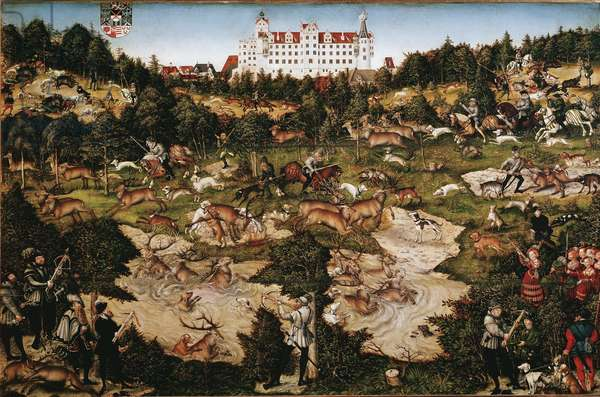 Hunt in honor of Charles V (1500-1558) at Torgau Castle (Germany). Painting by Lucas Cranach (1472-1553), 16th century. Madrid, Musee Du Prado
