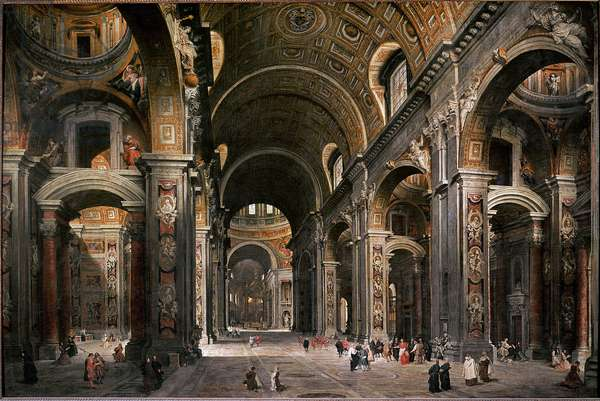 The prelate, diplomat and poet Melchior de Polignac visits the Basilica of St. Peter of Rome (Painting, 1730)