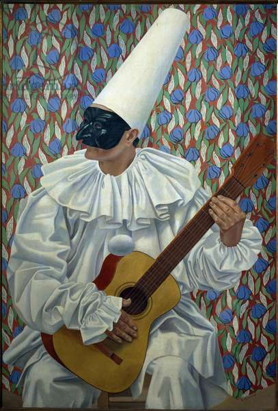 Polichinelle a guitar Character of the Italian comedie (commedia dell'arte) or Pierrot playing the guitar. Painting by Gino Severini (1883-1966) 1924 Dim. 130x89 cm Rotterdam, Musee Boymans-Van Beuningen