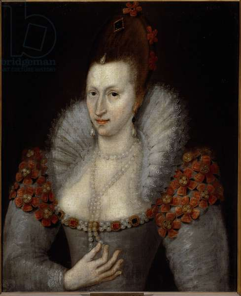 Portrait of Anne of Denmark (1574-1619) Queen consort of James I of England (James Stuart) Painting of a painter of the court of England. 1600-1610 Florence, Galleria Palatina