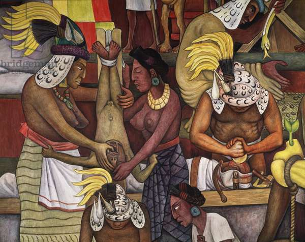 Aztec culture: trepanation and healing of a child, detail of  History of Medicine in Mexico: The People's Demand for Better Health (fresco, 1953)