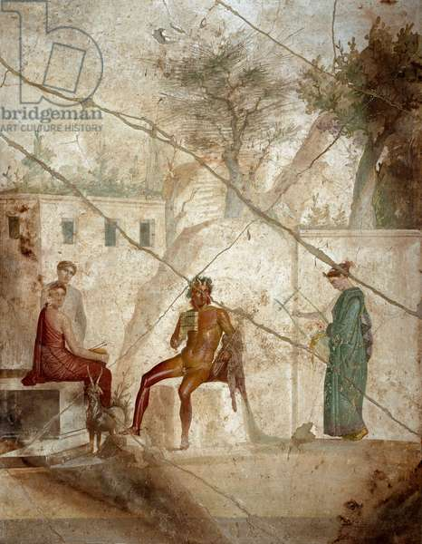 "Roman Art: ""Pan musician with nymphs"""" Fresco attributed to master Chiaro. 1st century. From Pompei. Naples, Museo Archeologico Nazionale"