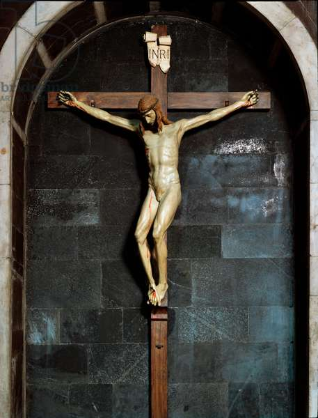 "Crucifix inscription """" INRI"""" (I.N.R.I.) on the cross. Polychrome wood sculpture by Filippo Brunelleschi (1377-1446) 1410-1412 Dim. 170x170 cm Florence, Church of Santa Maria Novella"