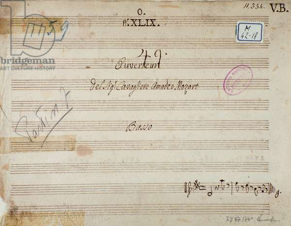 "First page of musical score of """" Mithridate"""" overture by Austrian composer Wolfgang Amadeus Mozart (1756-1791), 1770. First page of sheet music of """" Mitridate, re di Ponto, K. 87 (74a) (Mithridate, King of the Pont)"""" opera by W. A. Mozart. 1770 Milan, Biblioteca del Conservatorio"