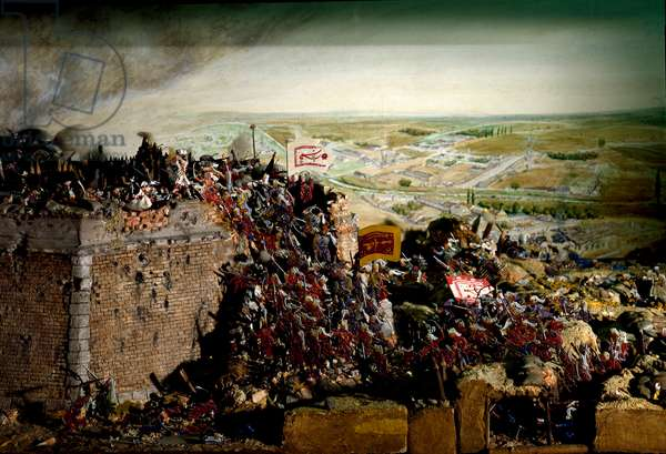 """Austro-Turkish War (Austro-Turkish): """""""" View of the attack by the Turkish armed forces, commanded by the Grand Vizir Kara Mustafa, against the Austrian and German armed forces, on 04/09/1683. Diorama model. Vienna Historisches Museum of the City"""