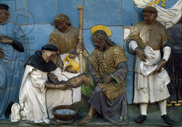 The Seven Works of Mercy, shelter the homeless, 1526-1528) (low Terracotta relief)