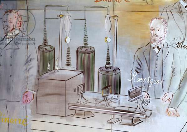 La Fee Electricite, detail: Portraits of different intellectuals and scientists: Wilhelm Conrad Roentgen or Rontgen (1845-1923), German physicist. Painting by Raoul Dufy (1877-1953) 1937 Sun. 62x10 m Paris Museum of Modern Art of the City of Paris