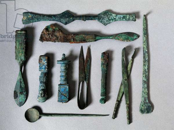 Roman art: set of surgical instruments from the House of the Surgeon in Pompei. 1st century BC. Naples, Museo Archeologico Nazionale