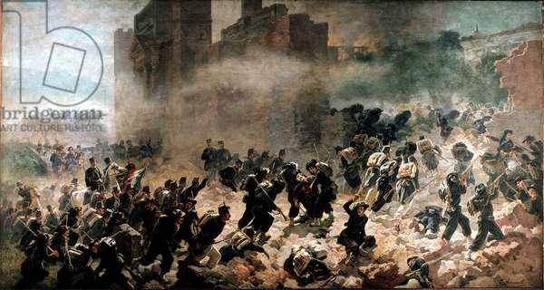 La breche de la Porta Pia, Rome (20 September 1870) - Painting by Carlo Ademollo (1825-1911), oil on canvas. Milano, Museo del Risorgimento