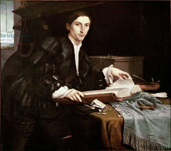 Portrait of a Gentleman in his Office Painting by Lorenzo Lotto (1480-1556) 1528-1530 Galerie dell'Accademia, Venice
