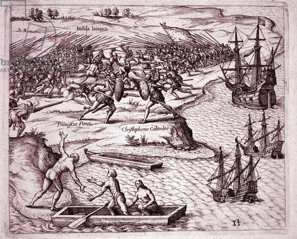 Fourth voyage of Christopher Columbus on the island of Jamaica in 1503 (Engraving, 1595)