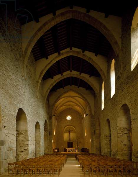View of the nave of the church of the Abbey, 975 (photography)