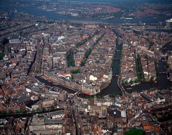 Aerial view of the city and harbour, 1990 ca Photography