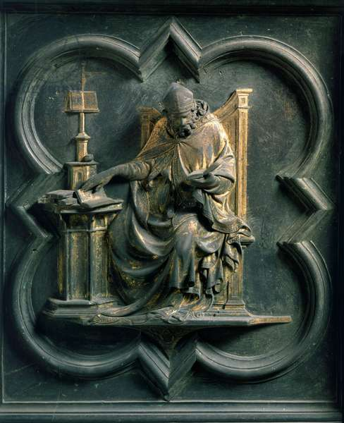 North Porte (called Porte de la Croix, north), exterior detail: Saint Ambrose. Bronze sculpture made by Lorenzo Ghiberti (1378-1455), 1424. Baptistere San Giovanni, Florence